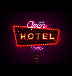 Hotel sign buib and neon vector