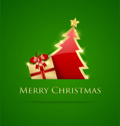 Simple christmas tree and gift decoration vector
