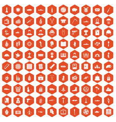 100 war crimes icons hexagon orange vector