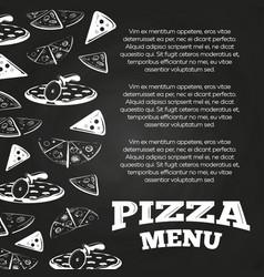 Chalkboard pizza menu poster - fast food banner vector