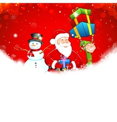 Santa with Snowman and Elf vector image