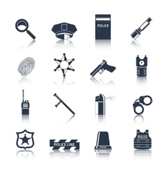 Police icons set black vector