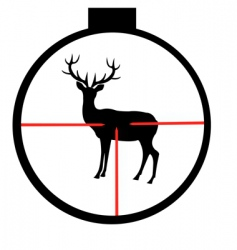 Wild deer in optical sight vector