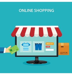 Online shopping concept flat design vector