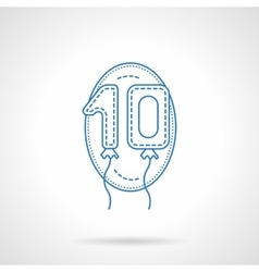 Balloon numbers blue line icon vector