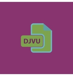Djvu ebook file extension icon vector