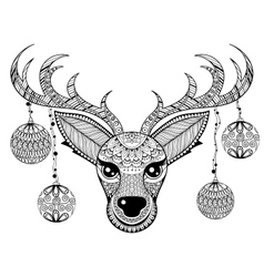 Zentangle reindeer face with chriatmas vector