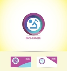 Real estate circle house logo vector