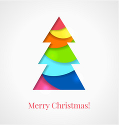 Christmas card colorful cut out paper tree vector
