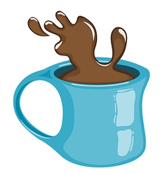 Cup of coffee with splash hot chocolate vector