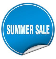 Summer sale round blue sticker isolated on white vector