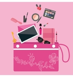 Make up cosmetics tools collection inside girls vector