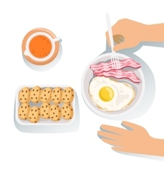 Bacon egg cookies and orange juice set of vector