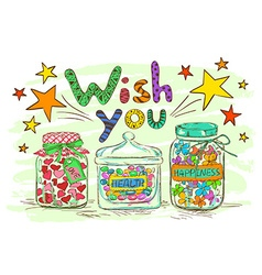 Birthday greeting card with jars and wishes vector