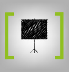 blank projection screen black scribble vector image vector image