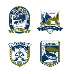Camping badge shield of mountain or forest camp vector