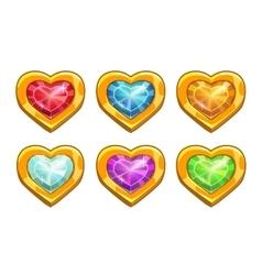 Cartoon golden rare hearts vector