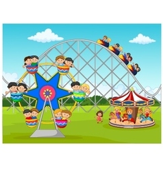 Cartoon little kid in the carnival festival vector image vector image