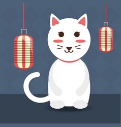 Cat cute animal wih lintern decoration design vector