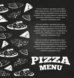Chalkboard pizza menu poster - fast food banner vector
