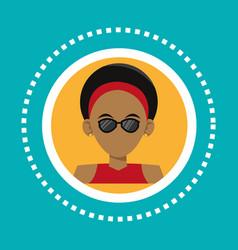 Character hipster man sunglasses rings social vector