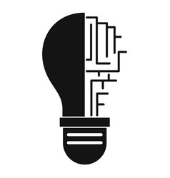 Circuit board inside light bulb icon simple vector