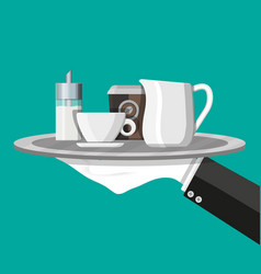 Coffee on saucer milk jug sugar dispenser vector