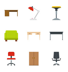 comfort furniture icons set flat style vector image