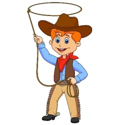 Cowboy kid cartoon twirling a lasso vector image