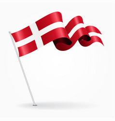Danish pin wavy flag vector