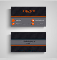 Dark business card with orange elements template vector