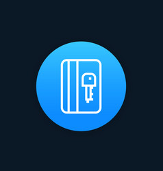 electronic pass card key line icon vector image