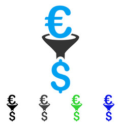 Euro dollar conversion filter flat icon vector