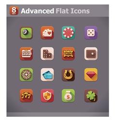 Flat gambling icons vector