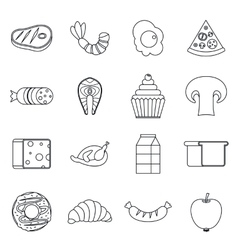 Food icons set outline style vector