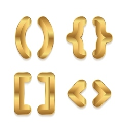 Golden alphabet Set of metallic 3d punctuation vector image vector image