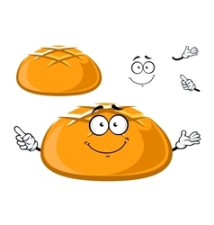 Happy fresh crusty cartoon bread vector image
