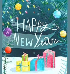 Happy new year hand drawn sign vector