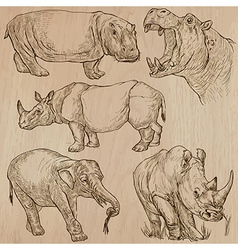 heavy animals - pack hand drawings vector image