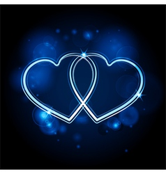 Interlocked glowing hearts background blue vector