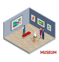 Isometric museum interior or art gallery concept vector