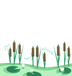 Lake reeds lilies in horizontal seamless border vector