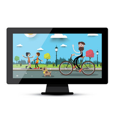 Lcd monitor screen with city park flat landscape vector