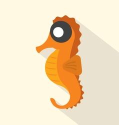 Modern Flat Design Seahorse Icon vector image