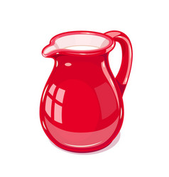 red ceramic jug with milk vector image