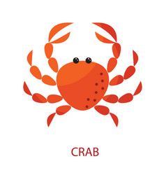 Red crab cartoon icon vector