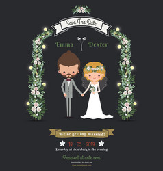 Rustic hipster romantic cartoon couple wedding vector