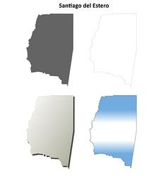 Santiago del estero blank outline map set vector