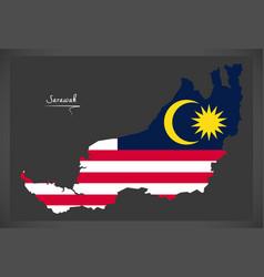 sarawak malaysia map with malaysian national flag vector image