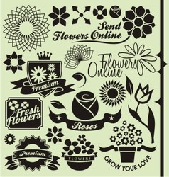 Set of flower symbols and icons vector